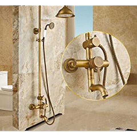 NHD-Copper antique shower kits, European high-end jade gold basin taps, stylish handheld telephone shower, home shower