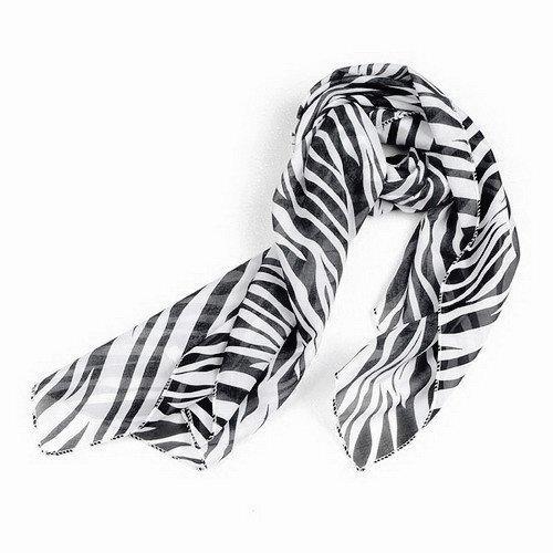 Gleader Schwarz weisse Zebra Streifen Chiffon Frauen Pashmina Schal