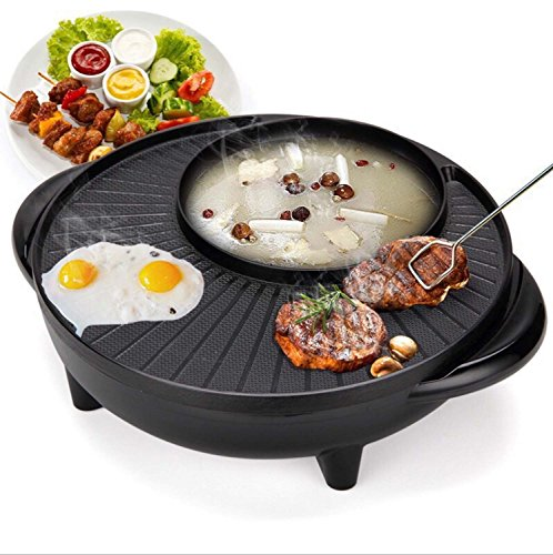 Korean Style BBQ Poke Hot Pot Dual Pot Barbecue Maschine, Non-Stick All Powerful Stovetop Grill Elektrische Multifunktions Runde Backen Pan Multi-Purpose Pot, - Hot Pot
