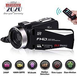 Caméscope Camescope Numerique Full HD 1080P 30FPS Vision Nocturne Caméra Vlogging pour Youtube 24.0MP Appareil Photo Numérique avec Télécommande