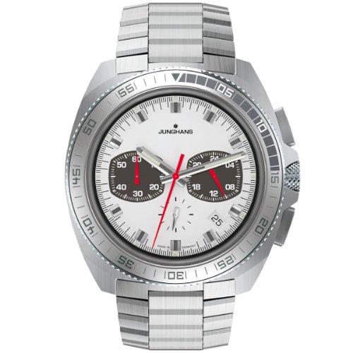 Junghans - 041/4262.44 - Montre Homme - Quartz Chronographe - Aiguilles lumineuses/Chronomètre - Bracelet Acier Inoxydable Argent