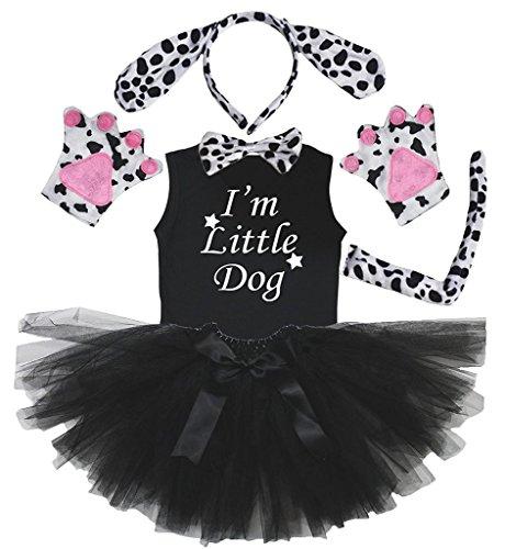 Petitebelle Stirnband Bowtie Schwanz Handschuhe Hemd Rock 6pc Mädchen-Kostüm 6-8 Yr Dalmatiner-Hund