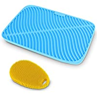 Belmalia Alfombrilla Escurreplatos Silicona + Esponja Ergonómica Silicona, Forma Olas, Tamaño Máximo: 44x32x1cm, Azul
