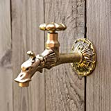 Antikas Wasserhahn für Wandbrunnen | 1/2 Zoll | Messing | nostalgischer Wasserspeier in Antik Optik