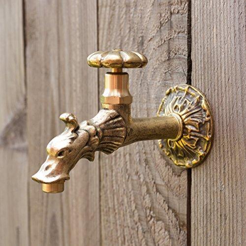 Drache-wasser-brunnen (Antikas Wasserhahn für Wandbrunnen   1/2 Zoll   Messing   nostalgischer Wasserspeier in Antik Optik)