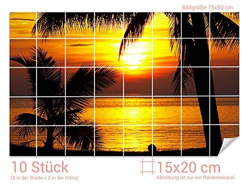Graz Design 761211_15x20_50 Fliesenaufkleber Sonnenuntergang für Kacheln   Wand-Deko für Bad/Küchen-Fliesen (Fliesenmaß: 15x20cm (BxH)//Bild: 75x50cm (BxH))