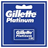 Gillette Platinum Hojas de Afeitar de Doble Filo para Hombre, 5 Recambios