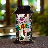 Happjoy Garten-Solar-Laterne – Outdoor hängende Libelle Metall LED-Leuchten für den Außenbereich Tisch Terrasse