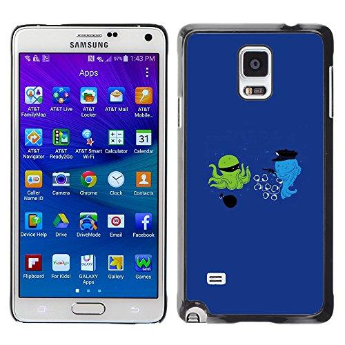 WonderWall Tapete Bunt Bild Handy Hart Schutz hülle Case Cover Schale Etui für Samsung Galaxy Note 4 SM-N910F SM-N910K SM-N910C SM-N910W8 SM-N910U SM-N910 - Cartoon lustige optimistisch blau