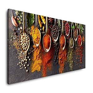Paul Sinus Art Gewürze in Löffeln 120x 60cm Panorama Leinwand Bild XXL Format Wandbilder Wohnzimmer Wohnung Deko…
