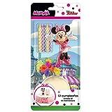 Minnie 303001 Décoration Gateau Fille Mouse avec Bougie d'anniversaire, Plastique, Multicolore, 11 x 5 x 23 cm