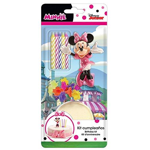 dekora 303001 Decoracion para Tartas con la Figura de Minnie Mouse y Velas Cumpleaños, PVC, Rosa, 11 x 5 x 23 cm