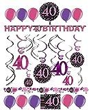 Dekoration zum 40.Geburtstag Folienspiralen Partykette pink rosa glitter (Spiralen, Banner & Konfetti)