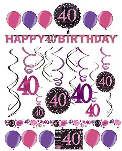 (Dekoration zum 40.Geburtstag Folienspiralen Partykette pink rosa glitter (Spiralen, Banner & Konfetti))