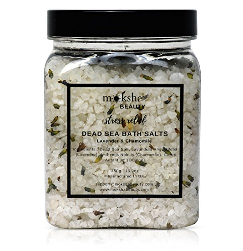 Bath Salts Stress Relief - Made in UK (450g) Natural Dead Sea Bath Salt for Women, Men, Girls and Kids. Luxury Detox with Essential Oils (Stress Relief)