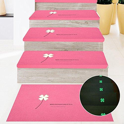 5 pcs leuchtende Treppenläufer Teppich Stufenmatte Treppenteppich Rechteckig rutschfest (Rosa)
