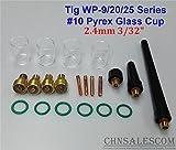 CHNsalescom 21 pcs TIG Welding Gas Lens #10 Pyrex Glass Cup Kit for WP-9/20/25 2.4mm 3/32