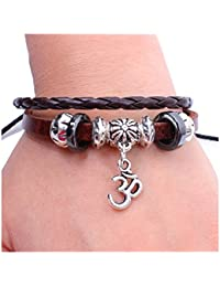 Young & Forever D'Vine Auspicious Om/Aumkaara Charm Leather Bracelet For Unisex
