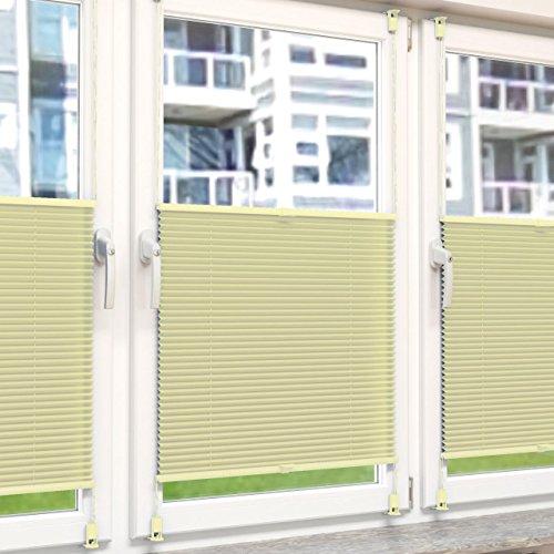 Plissee Rollo Sonnen- und Sichtschutz Klemmfix, ohne Bohren Breite 70 cm Höhe 130 cm in Gelb