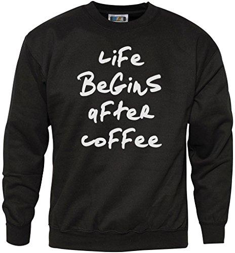 Addict-jugend-t-shirt (Life Begins After Coffee - Coffee lover Geschenk - Life Begins After Coffee - Coffee lover Geschenk Jugend & Herren Sweatshirt - coffee lover Geschenk caffeine addict - Alter 7/8 Schwarz)