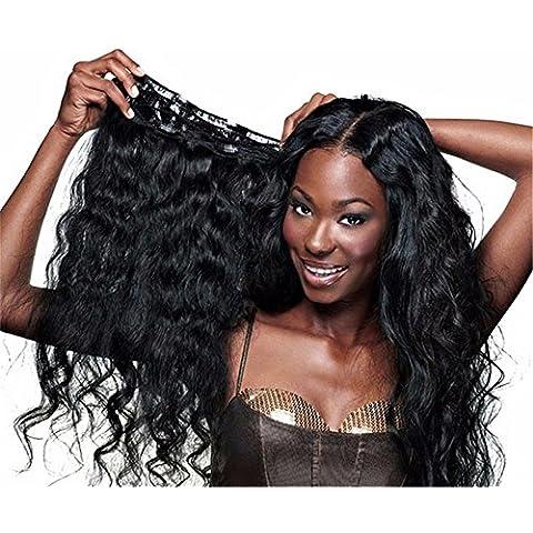 Fuente del Sol Top calidad 100% brasileño Virgin pelo humano cuerpo Wave clip en extensiones de pelo natural negro Full Stock, 7pcs/Set, 14