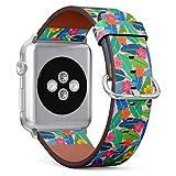 MysticBand Compatible avec Apple Watch (Grand) 42mm / 44mm, Bracelet de Remplacement en Cuir avec Connecteurs en Acier Inoxydable - Feuille de Banane Colore l'hibiscus