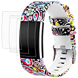 AFUNTA Fitbit Charge 2 Elastomer Armband Ersatz mit Displayschutzfolien, 1 Printing Design Band Armband 6,5