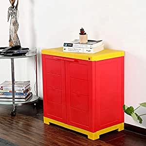 Cello Novelty Compact Plastic Cupboard with Shelf(Red and Yellow)