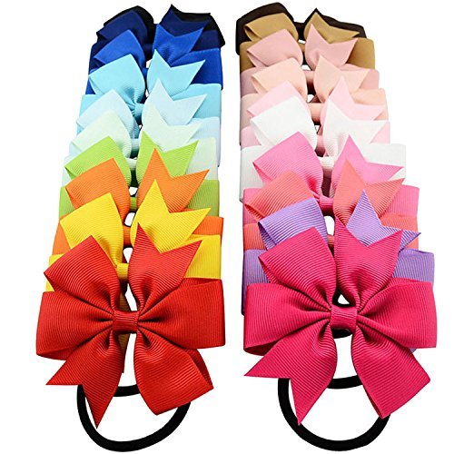 20 PCS Kids Girls Solid Color Bowknot Hair Bow Elastic Hair Band Rope Ring Tie Ponytail Holder Accessories Christmas Gift