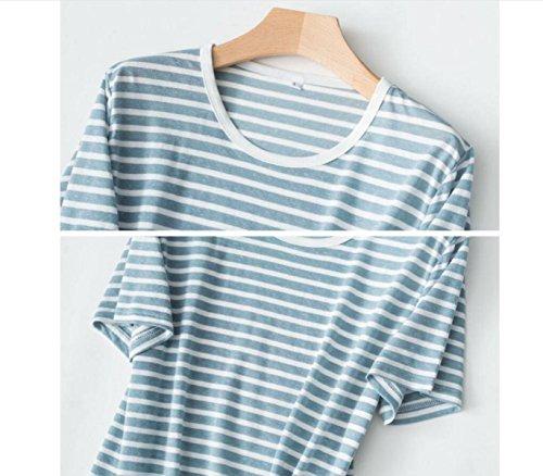 GSHGA Paar Pajama Hanf Gemischt Gestrickt Pyjamas Hausanzüge Sommer Blue/Female