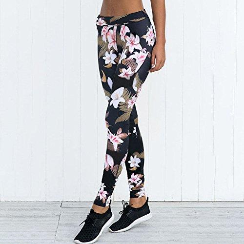 Femmes Sports YOGA Entraînement Gym Fitness Leggings Pantalons Jumpsuit Pants Sportifs Noir