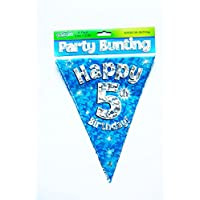 Happy 5th Birthday Flag Bunting Age Boys Blue Pennant Banner Party Decorations