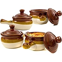 French Onion Soup Bowls, Brown Ceramic Crocks with Lids and Handles, Set of 4 by (Brown Ceramic Bowl)