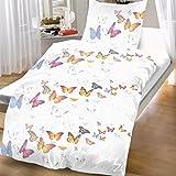 Mikrofaser Bettwäsche 135x200 cm 2 teilig Schmetterlinge weiß