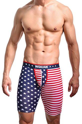 Herren kurze Leggings USA America Flagge Baumwolle Shorts 3/4 Hose Tights Carpri Boxershorts Neu (M/L)