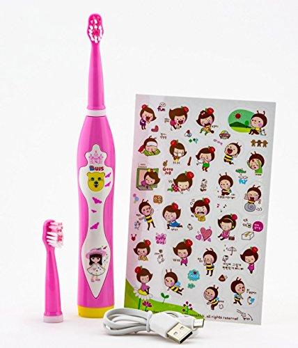 Musikalische Zahnbürste (Zahnbürste Elektro Akku UJS Sonico und Musik für Kinder über 3 Jahren rosa)