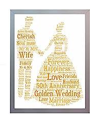 Idea Regalo - Oaktree Gifts - Cornice con stampa per il 50° anniversario di matrimonio, nozze d'oro, con parole in inglese, dimensione: A4 Foto ricordo per mamma, papà, nonni, amici e familiari.