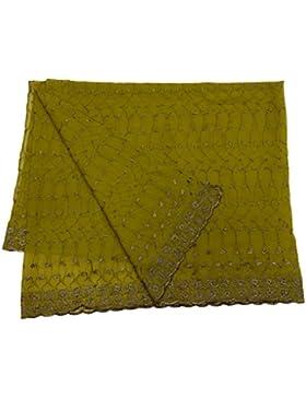 Indio Étnico Dupatta Georgette Tela Mujeres Diseñador Mantón Verde Bollywood Vendimia Larga Estola