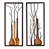 Wandbilder 'Vase', Metall, 2-teiliges Set, 40 x 80 cm