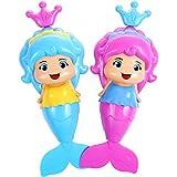Gejoy 2 Pezzi Bagno Giocattoli Vasca da Bagno Sirena Giocattolo a Carica Manuale Giocattolo per Bambini Neonati Nuoto Doccia, Colore Casuale