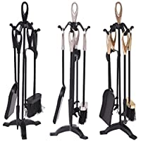 Costway 5 Piece Fire Tools Set Iron Fireplace Fireside Companion Brush Black/Silver/Gold