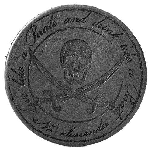 """""""Pirate"""", Schwarz, Untersetzer handgearbeitet für Bier, Long Drinks, Whisky, Weinglas, Glas aus 100% echtem Vintage Leder, Kreisdurchmesser ist 11cm"""