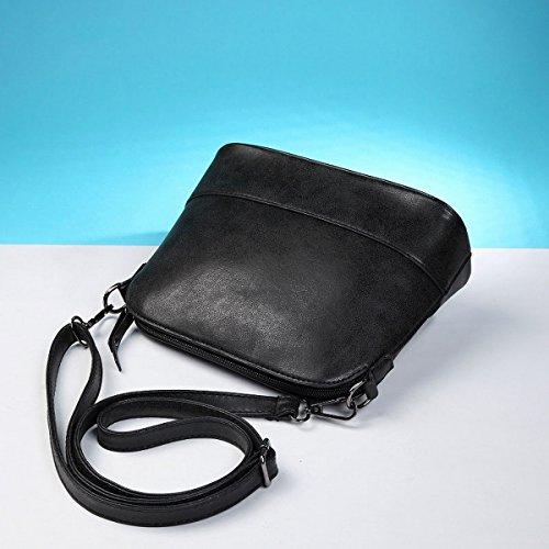 Weibliche Retro messenger Weibliche schultertasche Scrub shell-paket mini-tasche Schwarz