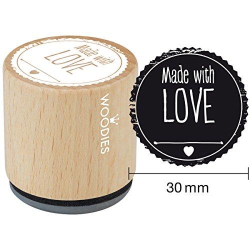 Woodies montato timbro di gomma 1.35-inch Made with Love, acrilico, multicolore, 3pezzi