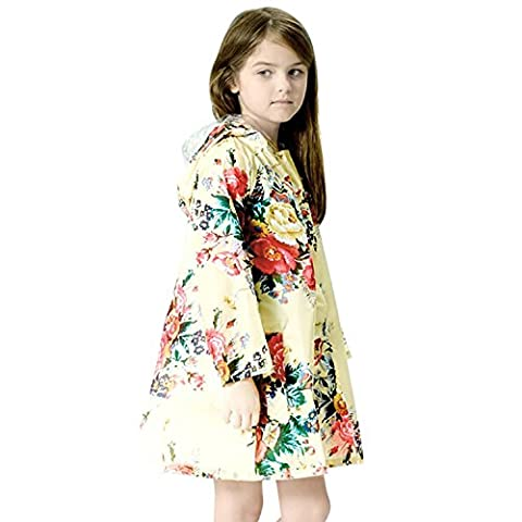 CHIC-CHIC Children's Girls Kids Rain Poncho Peony Print Waterproof Hooded Raincoat Rain Jacket (L/5-6