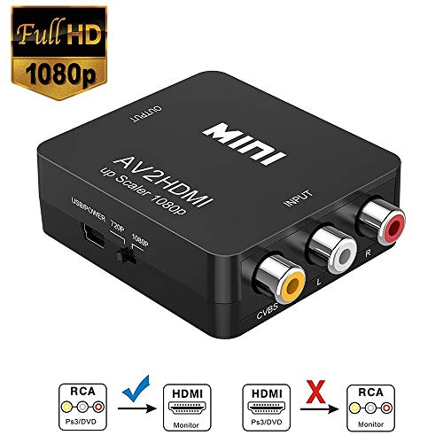 RCA zu HDMI Konverter, FAERSI 1080P Mini RCA Composite CVBS AV zu HDMI Video Audio Konverter zur Unterstützung von PAL/NTSC mit USB Ladekabel für PC Laptop Xbox PS4 TV VHS VCR DVD Camera Projektor (Composite Video Zu Hdmi Konverter)