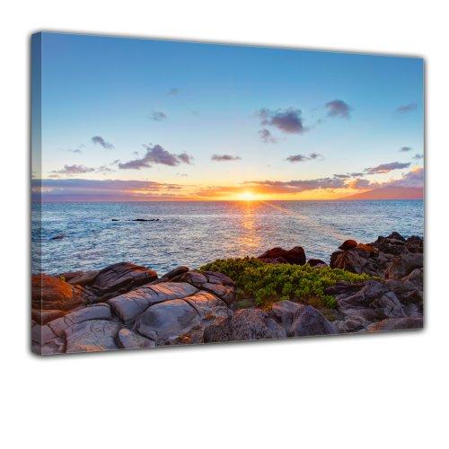 Wandbild - Küstenlinie Maui - Hawaii - USA - Bild auf Leinwand - 40x30 cm - Leinwandbilder - Landschaften - Amerika - Pazifik - Sonnenaufgang - Sonnenuntergang - Meer -