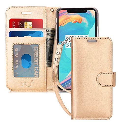 FYY iPhone XS Hülle,iPhone X Hülle,Handyhülle iPhone XS PU Leder Flip Folio Hülle[Ständer Feature] mit ID & Kreditkarte Protector Schutzhülle für iPhone XS/iPhone X, Gold