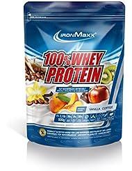 IronMaxx 100% Whey Protein / Wasserlösliches Whey Eiweißpulver / Proteinpulver mit Vanilla Coffee Geschmack / 1 x 500 g Beutel