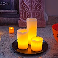 Set di 3 candele LED in vera cera con base rotonda e pietre decorative di Lights4fun